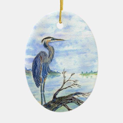 Centinela de la garza - lápiz de la acuarela ornamentos de navidad