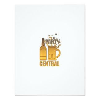 central de oro del fiesta de la taza de la botella invitación 10,8 x 13,9 cm