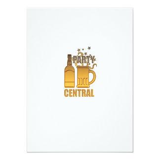 central de oro del fiesta de la taza de la botella invitación 13,9 x 19,0 cm