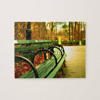 Central Park del banco de parque en caída Puzzle