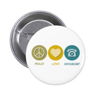 Centralita telefónica del amor de la paz chapa redonda de 5 cm