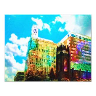 centro de la ciudad vibrante invitación 10,8 x 13,9 cm