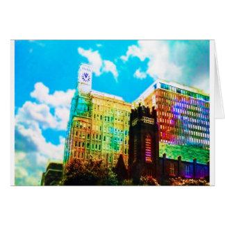 centro de la ciudad vibrante tarjeta de felicitación