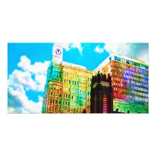 centro de la ciudad vibrante tarjeta fotografica