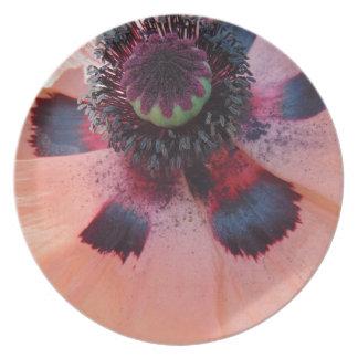 Centro rosado de la amapola plato de cena