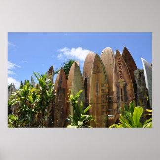 Cerca de la tabla hawaiana de Maui del poster Póster