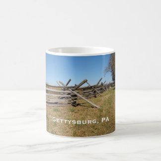cerca de madera en el PA de Gettysburg Taza De Café