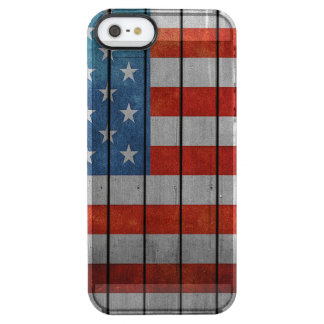 Cerca pintada de la bandera americana funda transparente para iPhone SE/5/5s