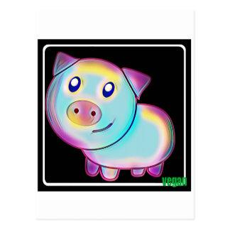 Cerdo coloreado vegano postal