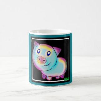 Cerdo coloreado vegano taza de café