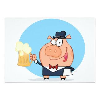 Cerdo con la pinta de invitaciones de la cerveza invitación 12,7 x 17,8 cm