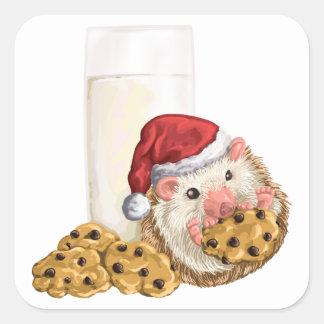 Cerdo de la galleta del navidad pegatina cuadrada