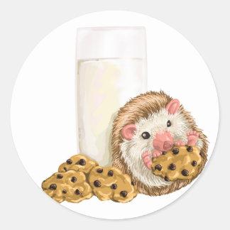 Cerdo de la galleta pegatina redonda