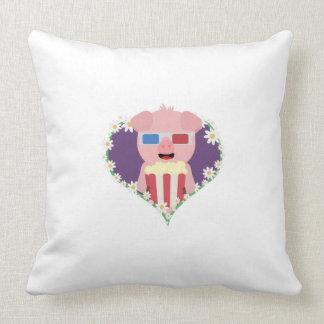 Cerdo del cine con el corazón Zvf1w de la flor Cojín Decorativo