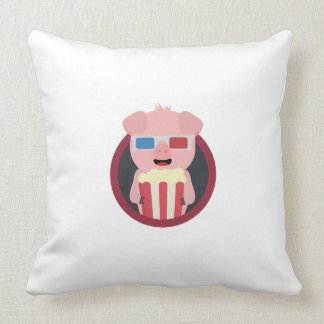 Cerdo del cine con las palomitas Zpm09 Cojín Decorativo