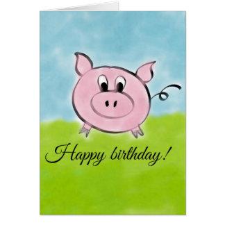 Cerdo del feliz cumpleaños tarjeta de felicitación