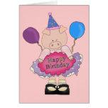 Cerdo del feliz cumpleaños tarjetas