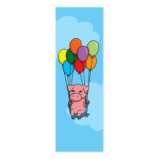 Cerdo del globo del vuelo tarjetas de visita mini