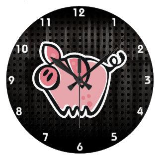 Cerdo del Grunge Reloj Redondo Grande