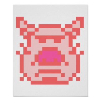 Cerdo del pixel póster