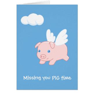 Cerdo del vuelo que le falta en blanco tarjeta