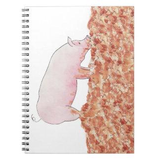 Cerdo divertido en libreta del diseño del arte de