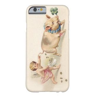 Cerdo divertido lindo y ángel del vintage que funda para iPhone 6 barely there