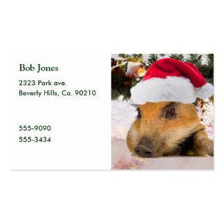 Cerdo dulce en árbol de navidad del gorra de Santa Tarjetas De Visita
