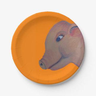 cerdo en la placa de papel anaranjada plato de papel
