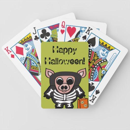 Cerdo en truco o la invitación esquelético del baraja cartas de poker