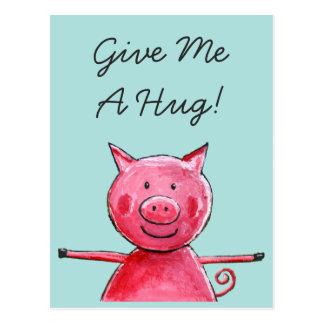 Cerdo feliz - déme una postal del abrazo