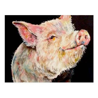 Cerdo feliz postal