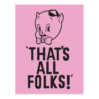"""¡Cerdo gordinflón clásico """"que es toda la gente! """" Postal"""