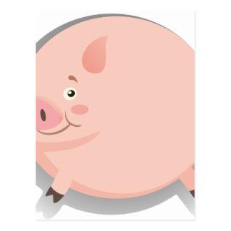 Cerdo gordo con la cara feliz postal