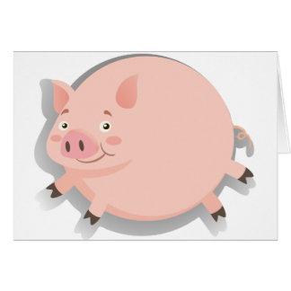 Cerdo gordo con la cara feliz tarjeta de felicitación
