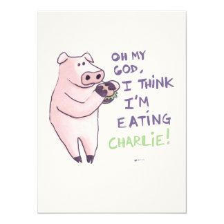 Cerdo hambriento invitación 13,9 x 19,0 cm
