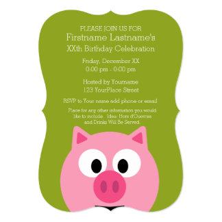 Cerdo lindo de la granja del dibujo animado - rosa invitación 12,7 x 17,8 cm