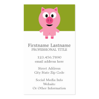 Cerdo lindo de la granja del dibujo animado - rosa tarjetas de visita