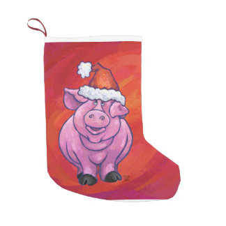 Cerdo lindo en el gorra de Santa en rojo Calcetín De Navidad Pequeño