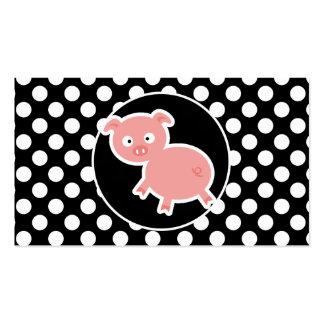 Cerdo lindo en lunares blancos y negros tarjeta de visita