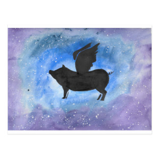 Cerdo majestuoso del vuelo postal