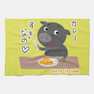 ¡Cerdo negro del curry del amor de Chelsea! Toallas De Mano