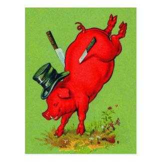 Cerdo pegado cerdo del kitsch del vintage con el postal