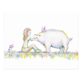 Cerdo precioso postal