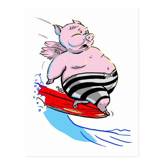 cerdo que practica surf postal
