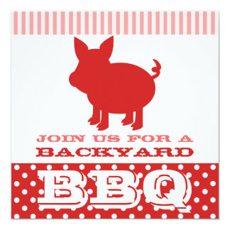Cerdo rojo y rosado de la invitación del Bbq -