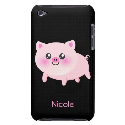 Cerdo rosado lindo en negro Case-Mate iPod touch cárcasas