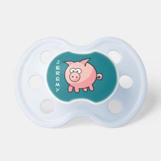 Cerdo rosado lindo personalizado chupete