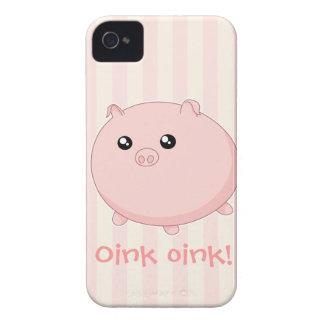 Cerdo rosado rechoncho lindo de Kawaii iPhone 4 Protectores