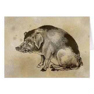 Cerdo triste del Victorian Felicitación